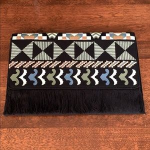 Stella and Dot Taj Clutch Black Multi Geometric
